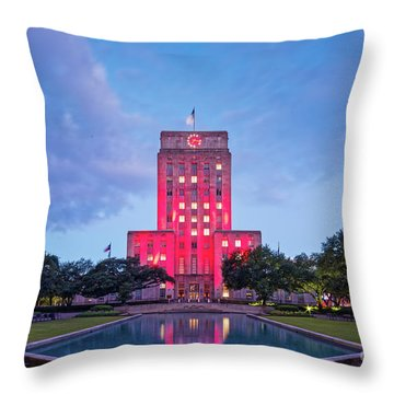 Early Dawn Architectural Photograph Of Houston City Hall And Hermann Square - Downtown Houston Texas Throw Pillow
