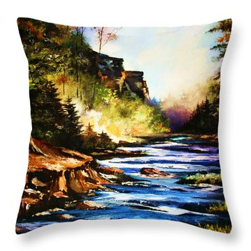Early Dawn Campfire Throw Pillow by Al Brown