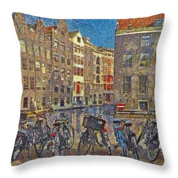 Early Evening Along An Amsterdam Canal Throw Pillow