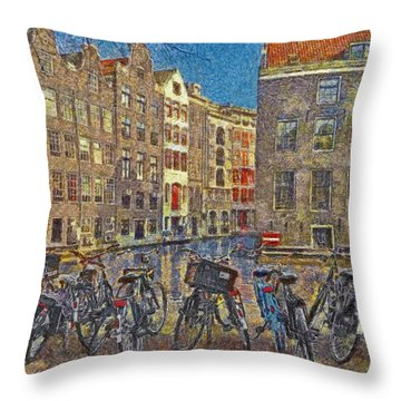Early Evening Along An Amsterdam Canal Throw Pillow