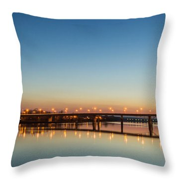 Early Evening Bridge At Sunset Throw Pillow