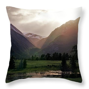 Early Evening Light In The Valley Throw Pillow