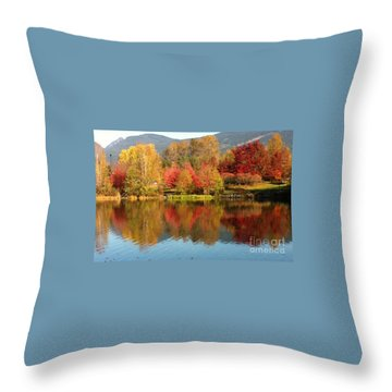 Early Fall At Lafarge Lake Throw Pillow by Rod Jellison