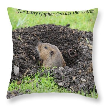 Early Gopher Catches The Worm Throw Pillow
