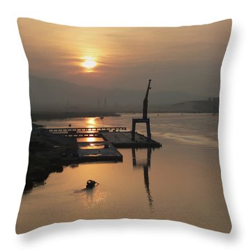 Throw Pillow featuring the photograph Early Hour On The River by Lucinda Walter