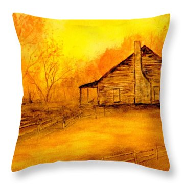 Throw Pillow featuring the painting Early Kentucky Times by Gail Kirtz