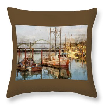 Early Light On Yaquina Bay Throw Pillow