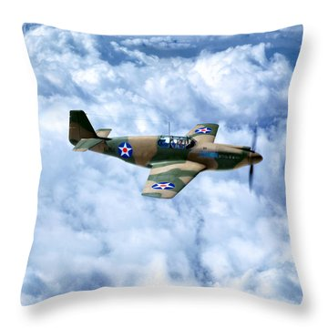 Throw Pillow featuring the photograph Early Model P-51 Mustang Fighter Plane - World War II by Mark Tisdale