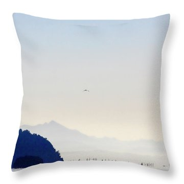 Early Morning Ala Spit Whidbey Island Throw Pillow