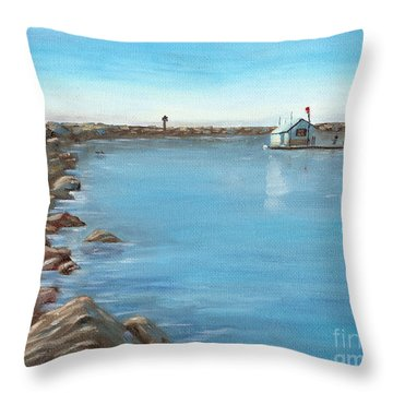 Throw Pillow featuring the painting Early Morning At Dana Point by Mary Scott