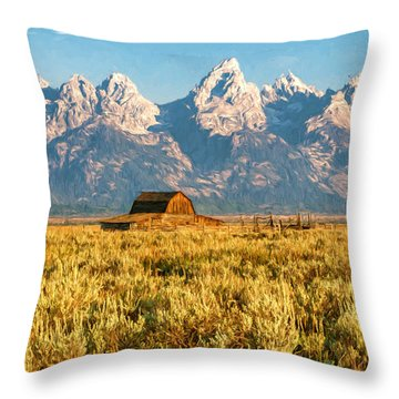 Early Morning At Moulton Barn Throw Pillow