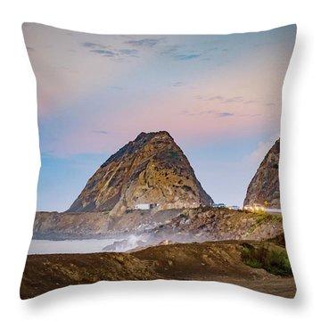 Early Morning At Mugu Rock Throw Pillow