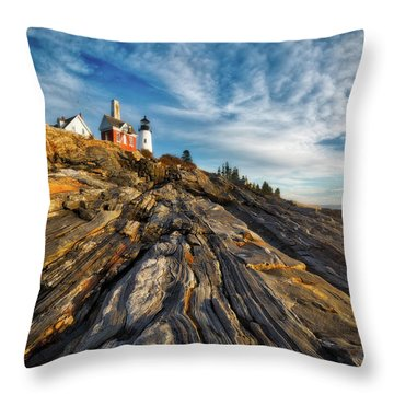 Throw Pillow featuring the photograph Early Morning At Pemaquid Point by Darren White