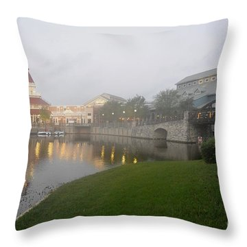Early Morning At Port Orleans Riverside Throw Pillow
