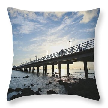 Early Morning At The Pier Throw Pillow