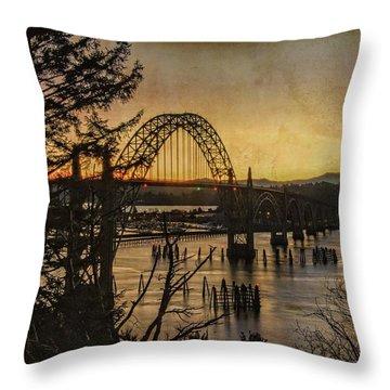 Early Morning At The Yaquina Bay Bridge  Throw Pillow