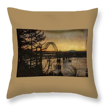 Early Morning At The Yaquina Bay Bridge  Throw Pillow