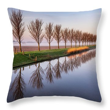 Throw Pillow featuring the photograph Early Morning By The Canal by Susan Leonard