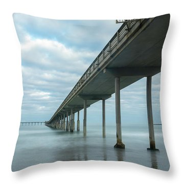 Throw Pillow featuring the photograph Early Morning By The Ocean Beach Pier by James Sage