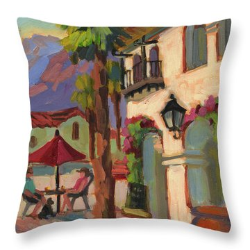 Early Morning Coffee At Old Town La Quinta Throw Pillow