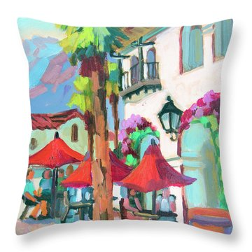Throw Pillow featuring the painting Early Morning Coffee In Old Town La Quinta 2 by Diane McClary