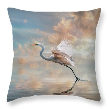 Early Morning Egret Throw Pillow