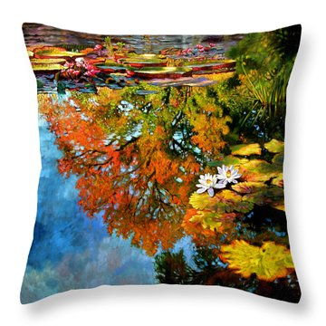 Early Morning Fall Colors Throw Pillow by John Lautermilch