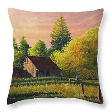 Early Morning Farm Throw Pillow