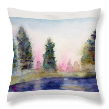Early Morning Forest Throw Pillow