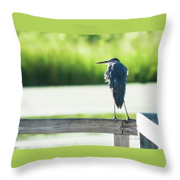 Early Morning Great Blue Heron Throw Pillow