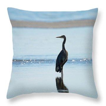Early Morning Heron Throw Pillow