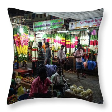 Throw Pillow featuring the photograph Early Morning Koyambedu Flower Market India by Mike Reid