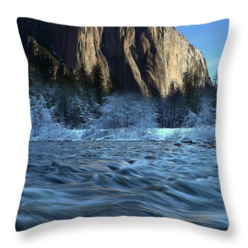 Early Morning Light On El Capitan During Winter At Yosemite National Park Throw Pillow
