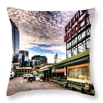 Early Morning Market Throw Pillow