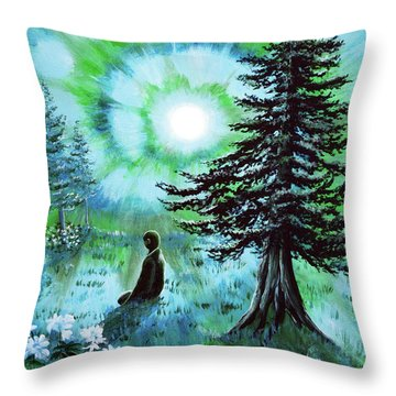 Early Morning Meditation In Blues And Greens Throw Pillow by Laura Iverson