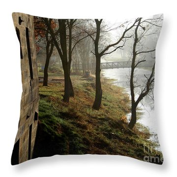 Early Morning Mist On The I  M Canal Throw Pillow