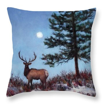 Early Morning Moon Throw Pillow by Jill Musser