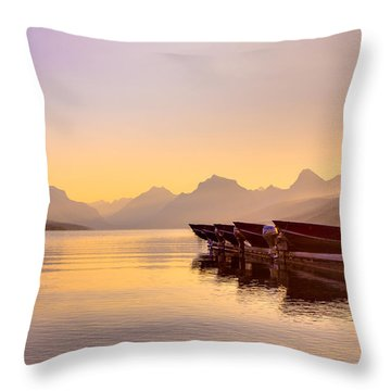 Early Morning On Lake Mcdonald Throw Pillow