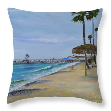 Throw Pillow featuring the painting Early Morning On The Beach by Mary Scott