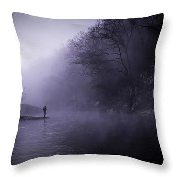 Early Morning On The Lower Mountain Fork River Throw Pillow