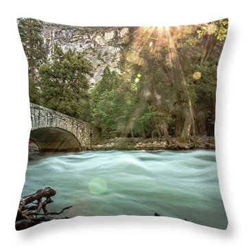 Early Morning On The Merced River Throw Pillow
