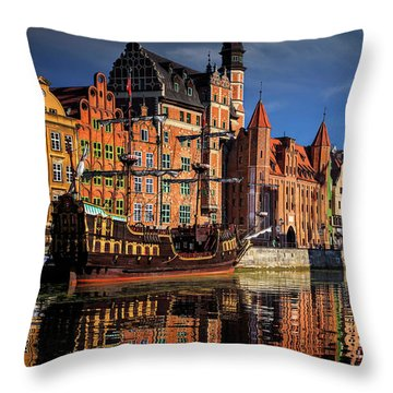 Early Morning On The Motlawa River In Gdansk Poland Throw Pillow by Carol Japp