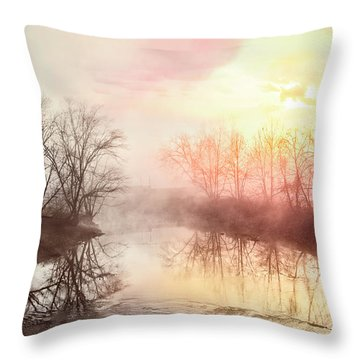 Throw Pillow featuring the photograph Early Morning On The River by Debra and Dave Vanderlaan