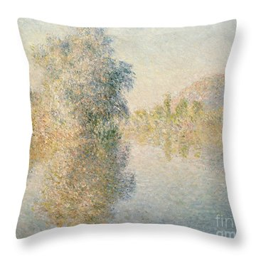 Early Morning On The Seine At Giverny Throw Pillow by Claude Monet