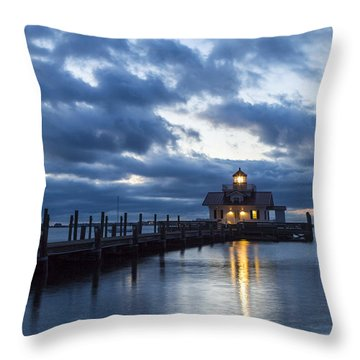 Early Morning Over Roanoke Marshes Lighthouse Throw Pillow