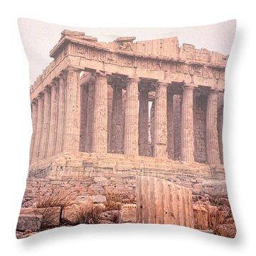 Early Morning Parthenon Throw Pillow by Nigel Fletcher-Jones