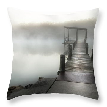 Yesterday's Early Morning Pier Throw Pillow by Tamyra Ayles