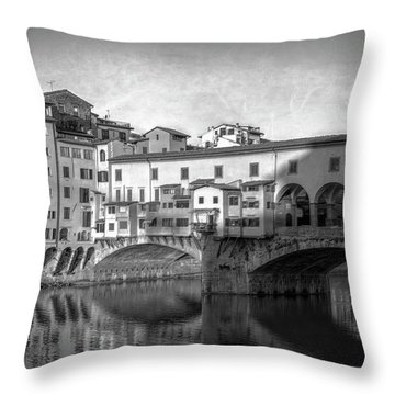 Throw Pillow featuring the photograph Early Morning Ponte Vecchio Florence Italy by Joan Carroll