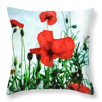 Early Morning Poppy Moment Throw Pillow