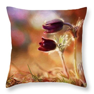 Early Morning Purple Pasque Throw Pillow